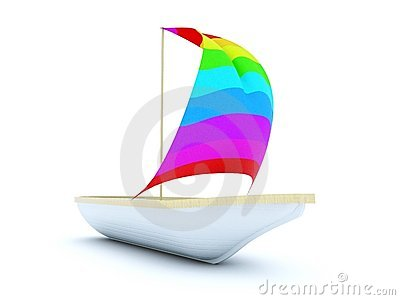 Boat with color sail