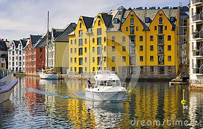Boat and Colorful Buildings, Alesund, Norway Editorial Photography