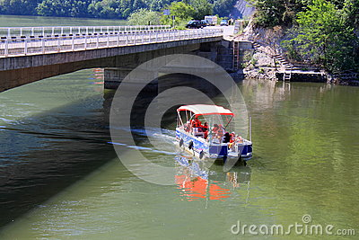 Boat on the Danube Editorial Stock Photo