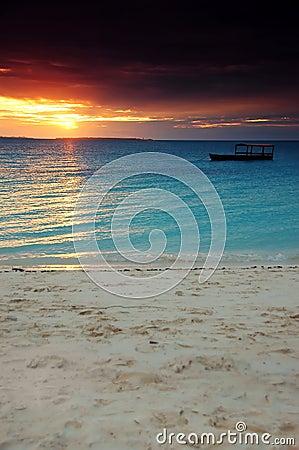 Boat in a dark sunset - Zanzibar