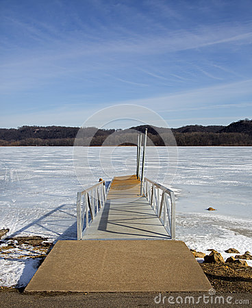 Boat dock on a frozen lake