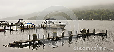 A Boat Dock on a Misty English Lake