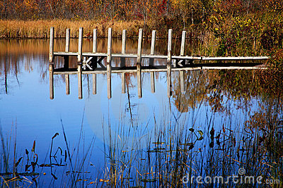 Boat Dock And Pond, Michigan