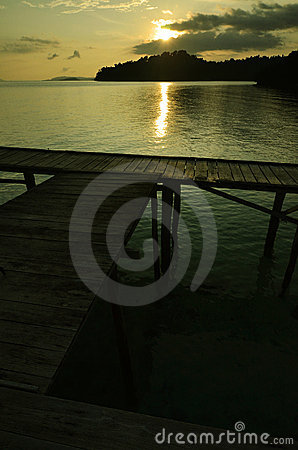 Boat dock on sunset