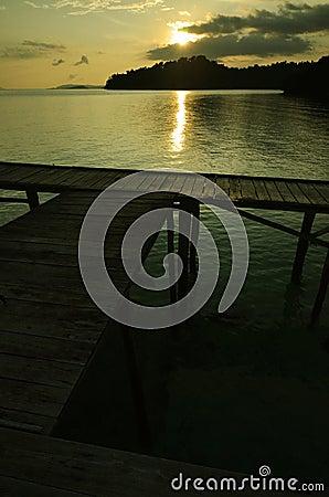 Boat dock on sunset