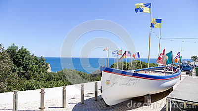 Boat with flags Portugal, Algarve Stock Photo