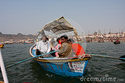 Boat with the hindu pilgrims sails at the Ganges Editorial Photo