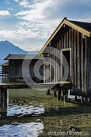 Boat house on Bavarian lake