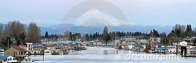Boat Houses Along Columbia River and Mount Hood