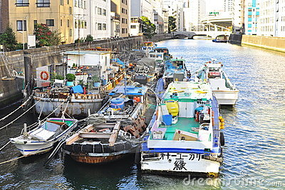 Boat houses at Sumida River of Tokyo Editorial Stock Image