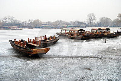 Boat on ice above