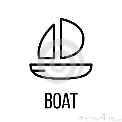 Boat icon or logo in modern line style Vector Illustration