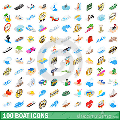 100 boat icons set, isometric 3d style Vector Illustration
