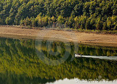 Boat in Kardzhali dam lake