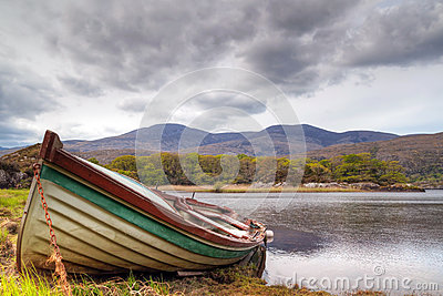 Boat at the Killarney lake in Ireland