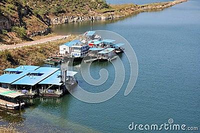 Boat beside lake