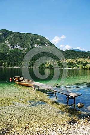 Boat at Lake Bohinj Shore