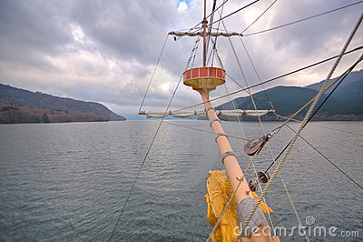 Boat on a lake in Japan crows nest