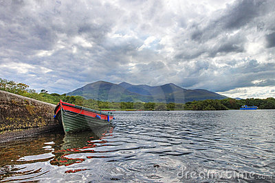 Boat on the lake in Killarney - Ireland.