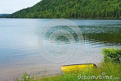 Boat at lake in sweden