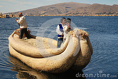 The boat on Lake Titicaca in Peru Editorial Stock Image