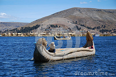 The boat on Lake Titicaca in Peru Editorial Photography