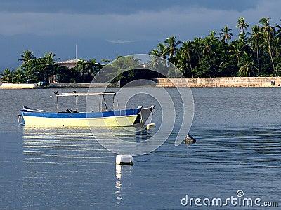 Boat moored in Guanabara Bay