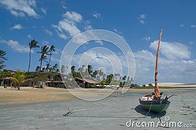 Boat moored on idyllic beach