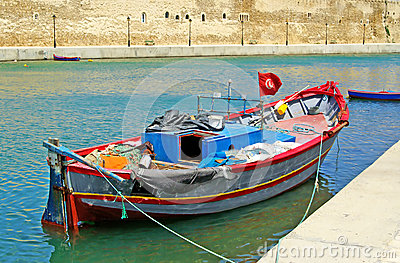Boat near fort of Bizerte