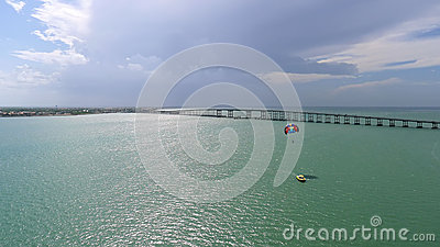 Boat and parasail on the bay