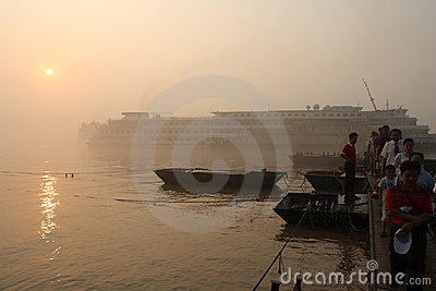 Boat with passengers on Yangtze river in sunrise Editorial Stock Photo