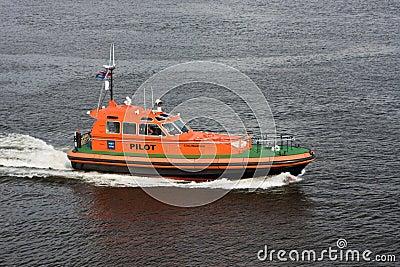 Boat of pilot in harbour