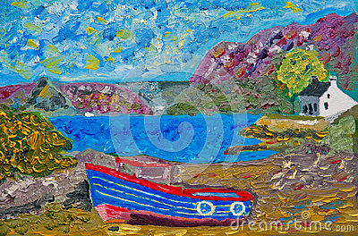 Boat at Plockton: oil on canvas