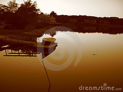 Boat and Pond at Sunset in Sepia