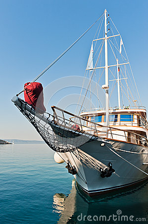 Boat in port of Makarska,  Croatia