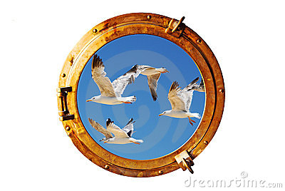 Boat porthole with seagull