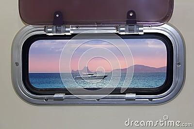 Boat porthole view
