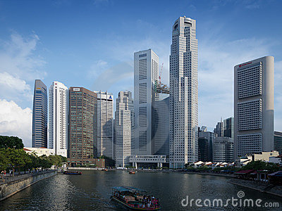 Boat Quay at Singapore River Editorial Image