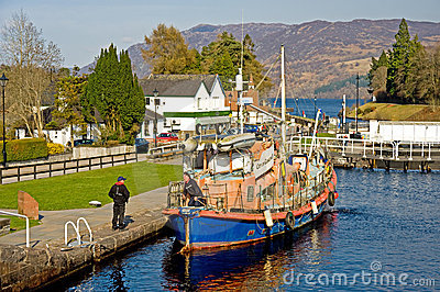 Boat ready to enter Loch Ness. Editorial Stock Photo