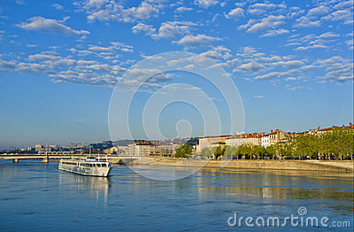 Boat on Rhone River, Lyon France