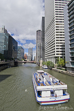 Boat Ride on River North Chicago Editorial Photography
