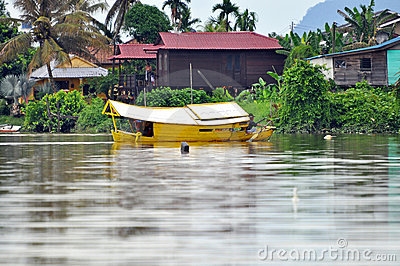 Boat on the River in Kuching Editorial Stock Photo