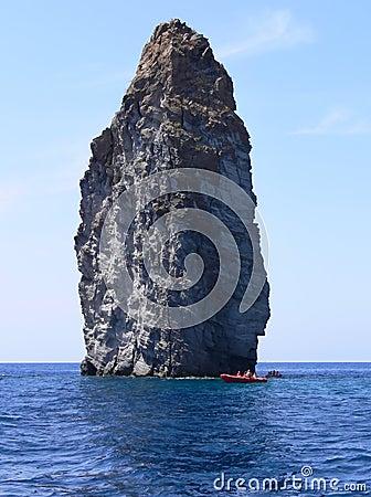 Boat by Rock