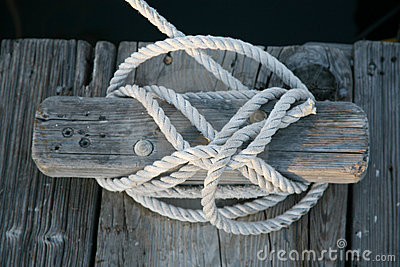 Boat rope tied to cleat