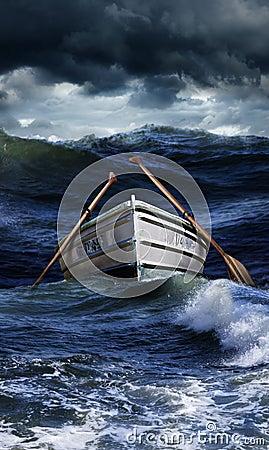 Boat in rough seas
