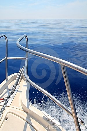 Free Boat Sailing Blue Calm Ocean Sea Bow Railing Royalty Free Stock Photography - 17168907