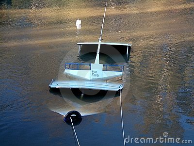 Sunken cruise boat in a river