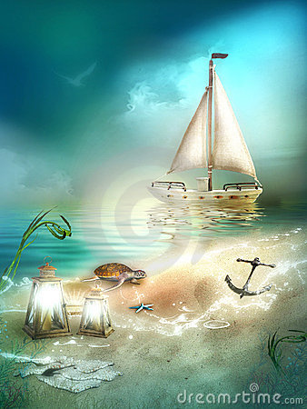 Boat on sea background