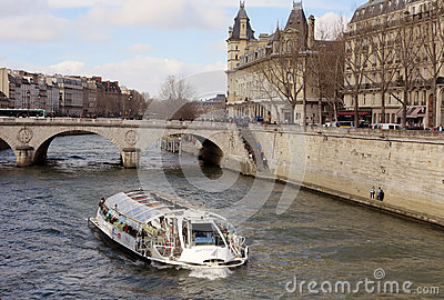 Boat on Seine Editorial Photography