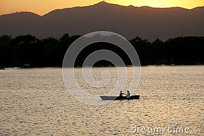 Boat in the setting sun